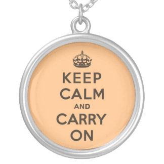 Chocolate Orange Keep Calm and Carry On Round Pendant Necklace