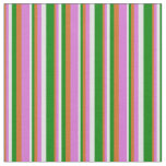 [ Thumbnail: Chocolate, Orchid, Lavender & Green Lines Pattern Fabric ]