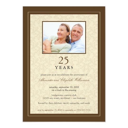 Chocolate Ornate Anniversary Party Invitation