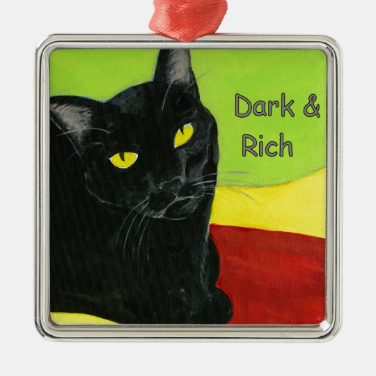 Chocolate, oscuridad y ricos del gato negro adorno navideño cuadrado de metal