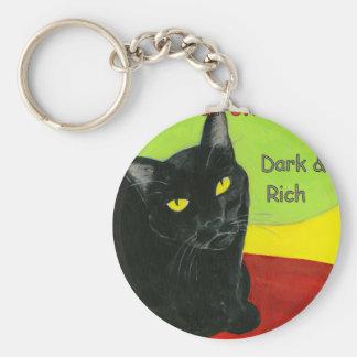 Chocolate, oscuridad y ricos del gato negro llavero redondo tipo pin