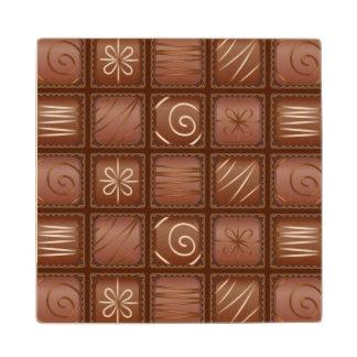 Chocolate Pattern Wooden Coaster