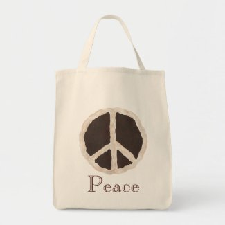 Chocolate Peace Pie Sign, Tote Bags