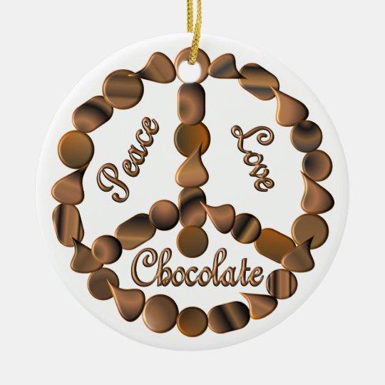Chocolate Peace Sign Ceramic Ornament