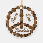 Chocolate Peace Sign Christmas Ornament