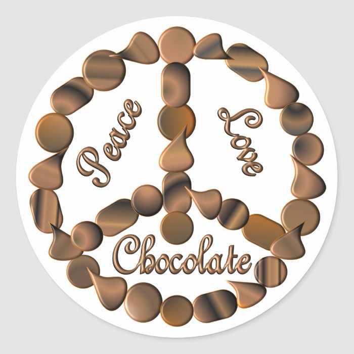 Chocolate Peace Sign Classic Round Sticker
