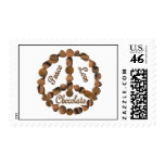Chocolate Peace Sign Postage Stamps