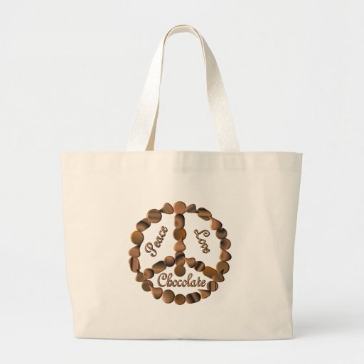 Chocolate Peace Sign Tote Bags