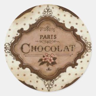 chocolate pegatina redonda