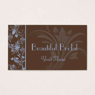 Chocolate Periwinkle Floral Scroll Business Card