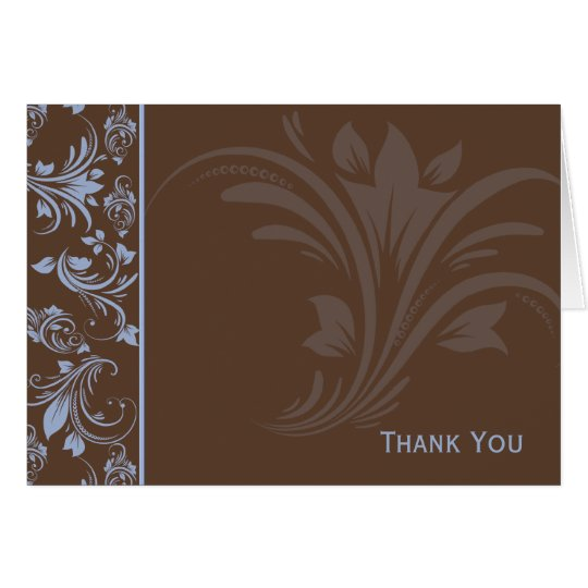 Chocolate Periwinkle Floral Scroll Card
