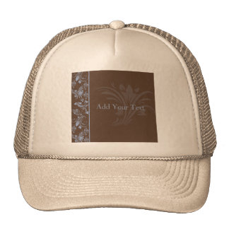 Chocolate Periwinkle Floral Scroll Trucker Hat