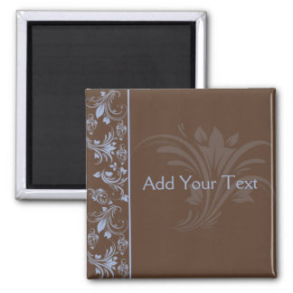 Chocolate Periwinkle Floral Scroll Magnet