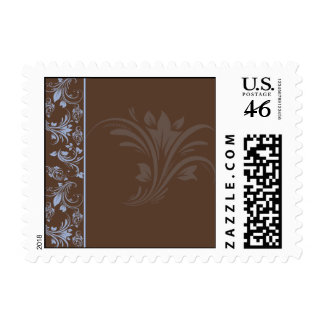 Chocolate Periwinkle Floral Scroll Postage