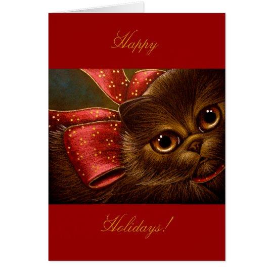 CHOCOLATE PERSIAN CAT - HOLIDAY CARD