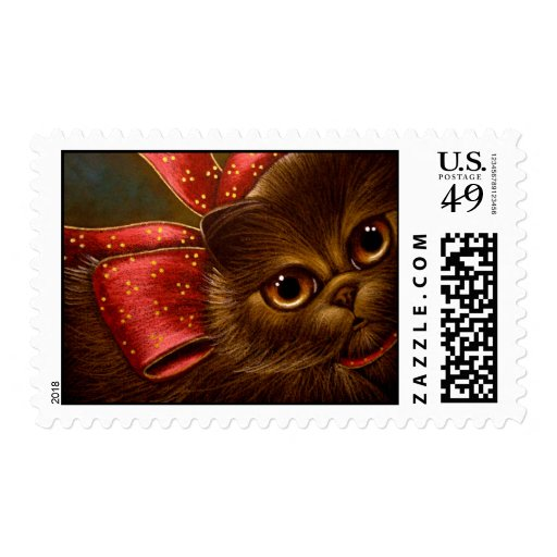 CHOCOLATE PERSIAN CAT HOLIDAY Postage
