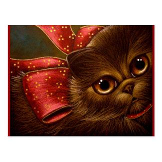 CHOCOLATE PERSIAN CAT - HOLIDAY POSTCARD