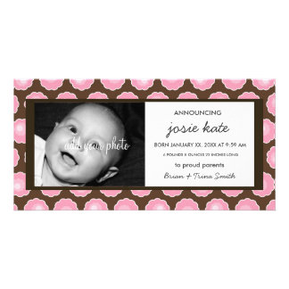Chocolate & Pink Blooms Birth Announcement Photo Card