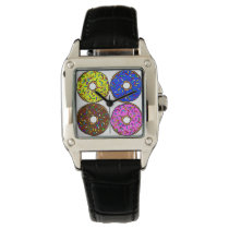 Chocolate Pink Blue Yellow Donut Pattern Sprinkles Wrist Watch