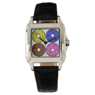 Chocolate Pink Blue Yellow Donut Pattern Sprinkles Wrist Watch