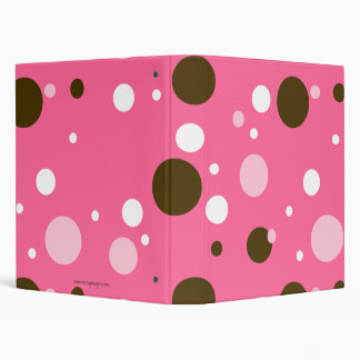 Chocolate & Pink Giant Dots 3 Ring Binder
