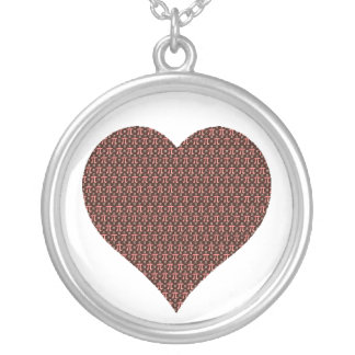 Chocolate & Pink Heart of Pi Round Pendant Necklace