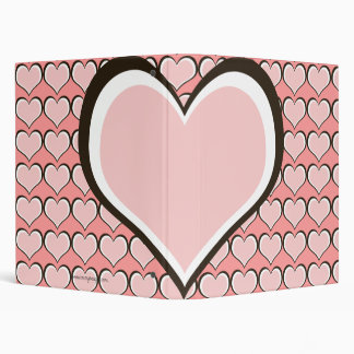Chocolate & Pink Hearts Personalized 3 Ring Binder
