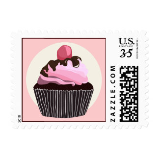 Chocolate Pink Icing Cupcake Stamp
