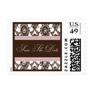 Chocolate & Pink Save The Date-Small Postage