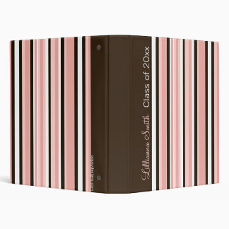 CHOCOLATE & PINK STRIPES Avery Binder