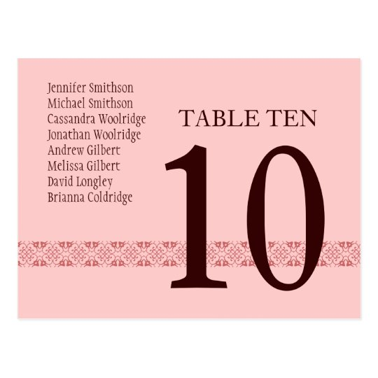 CHOCOLATE & PINK Table Number Card Reception