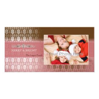 Chocolate pink vintage christmas photocard photo greeting card