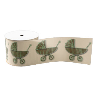 chocolate & pistachio buggy grosgrain ribbon