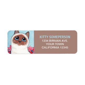 Chocolate Point Birman Cat Painting Label
