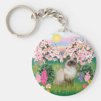 Chocolate Point Himalayan -  Blossoms Basic Round Button Keychain