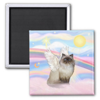 Chocolate Point Himalayan Cat  Angel 2 Inch Square Magnet