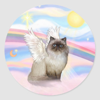 Chocolate Point Himalayan Cat  Angel Classic Round Sticker