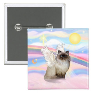Chocolate Point Himalayan Cat  Angel Pinback Button
