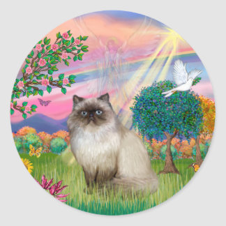 Chocolate Point Himalayan Cat -  Cloud Angel Classic Round Sticker