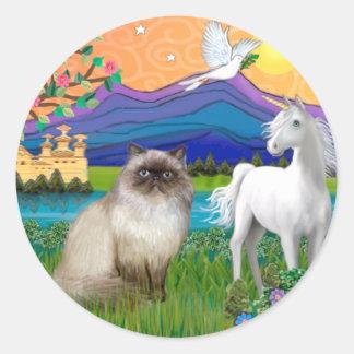 Chocolate Point Himalayan Cat  - Fantasy Land Classic Round Sticker