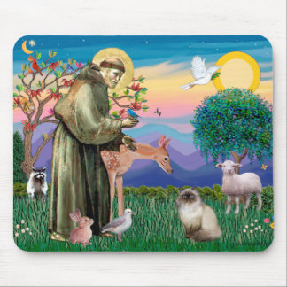 Chocolate Point Himalayan Cat  - St Francis Mouse Pad