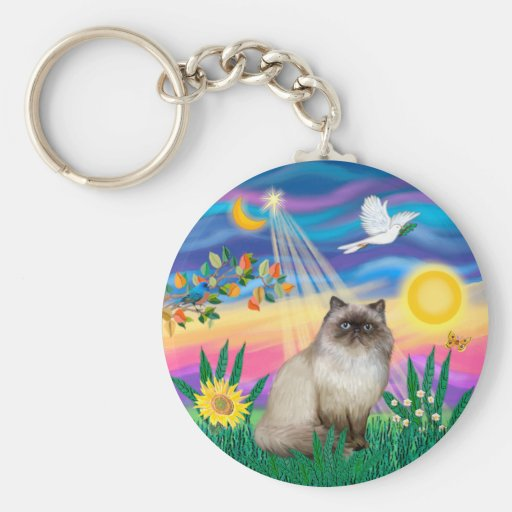 Chocolate Point Himalayan Cat  - Twilight Basic Round Button Keychain