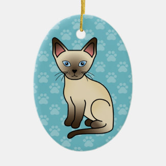 Chocolate Point Siamese Breed Cat Illustration Ceramic Ornament