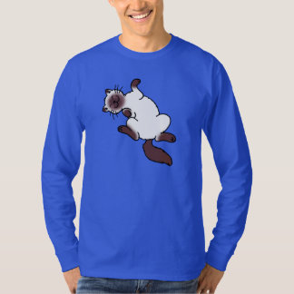 Chocolate point Siamese cat lying on back T-Shirt