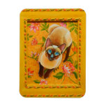 Chocolate Point Siamese Cat on Floral Carpet Rectangular Photo Magnet