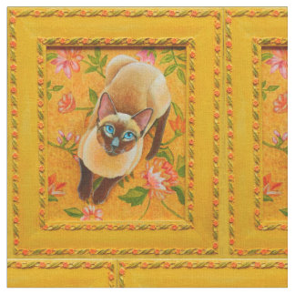 Chocolate Point Siamese Cat on Floral Rug Fabric