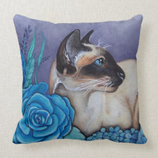 Chocolate Point Siamese  Cat Throw Pillow