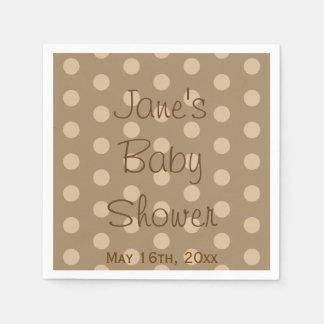 Chocolate Polka Dot Baby Shower Paper Napkin