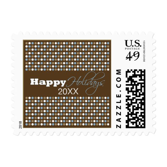 Chocolate Polkadots Holiday Postage (blue)