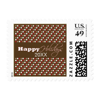 Chocolate Polkadots Holiday Postage (red)